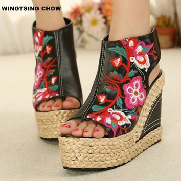 2017 Handmade Summer Shoes Women Sandal Fashion Peep Toe High Heels Wedges Platform Sandals Women Pumps Sandalias Scarpe Donna