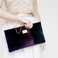 35% OFF NAOMI / Three color velvet clutch bag with chain wrist strap - Ready to Ship-SALE