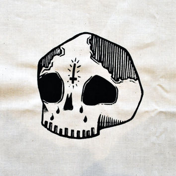 Sad Skull Patch [White]