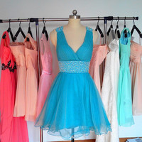 Blue Backless Tulle Prom Dress, Short V-neck Prom Dresses, Cheap Formal Dress Homecoming Dress Cocktail Dress 2015