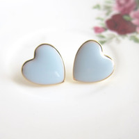 Blue Heart Earrings Heart Stud Earrings Post Earrings Blue Wedding Blue Bridesmaids Earrings Bridesmaids Gift Bridal Jewelry Accessories