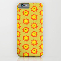 Happy Cartoon Sun Pattern iPhone & iPod Case by Boriana Giormova
