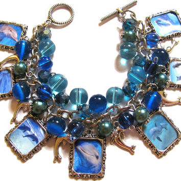 Dolphin Altered Art Fashion Charm Bracelet Teal Blue Glass Beads