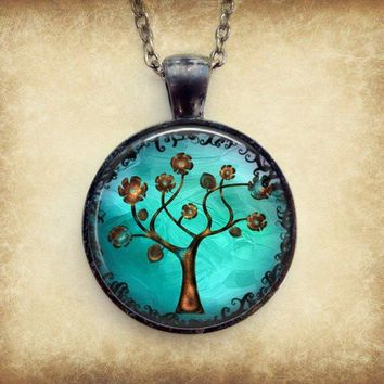 Copper Tree Necklace : Pendant. Charms. Art. Picture Pendant. Gunmetal Jewelry. Handmade Jewelry.
