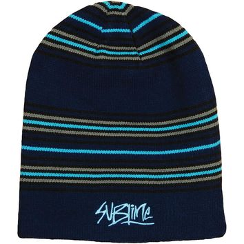 Sublime Men's Striped Long Beanie Beanie Black