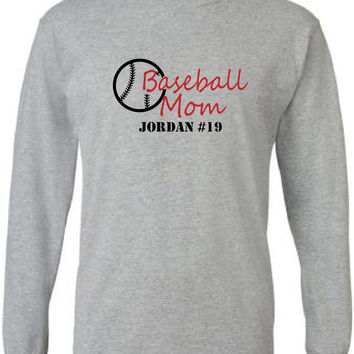 Personalized Baseball mom long sleeved tshirt.  Players' name and number.  Baseball.