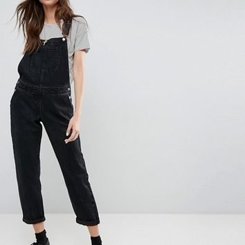 ASOS Denim Dungaree in Washed Black at asos.com