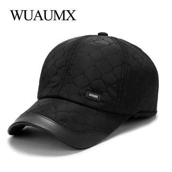 Trendy Winter Jacket Wuaumx Autumn Winter Baseball Cap For Men With Ear flaps Cotton Warm Thick Bone Snapback Cap Men Vintage Dad Hat Casquette homme AT_92_12