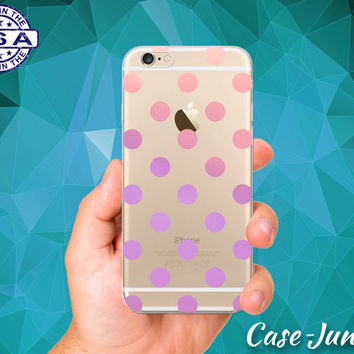 Pink and Purple Pastel Polka Dot Pattern Cute Tumblr Inspired Custom Clear Transparent Rubber Case Cover For iPhone 6 and iPhone 6 Plus +