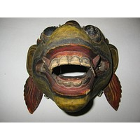 Topeng Ceremonial Dance Mask Hand Painted Wood Carving Folk Art