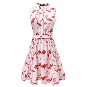 Summer Women Flamingo Prints Vintage Party Dresses High Waist A-Line Sleeveless Retro Mini Dress for Female Cloth Lady Vestido