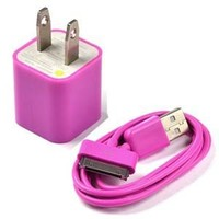 Case Star Hot Pink USB Wall Charger plus 3Feet USB Charge and Sync Data Cable