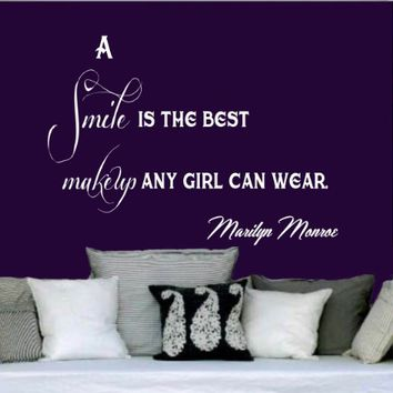 Wall Decals Quotes Vinyl Sticker Decal Quote Marilyn Monroe A smile is the best makeup any girl can wear Phrase Home Decor Bedroom Art Design Interior NS63