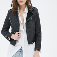 FOREVER 21 Textured Faux Leather Moto Jacket Black