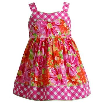 Youngland Flower Check Dress - Baby Girl, Size: