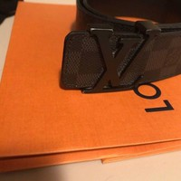 "Authentic Louis Vuitton Men¡¯s Belt Initiales Damier Graphite Size 95cm (32-34"")"
