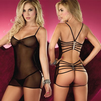 Sexy Lingerie Nightwear Underwear with Neck-hanging Straps and G-string Set (Red Black Blue Pink) One size = 5987702849
