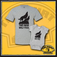 Two Man Wolf Pack Matching Dad And Baby Shirts - New Baby - Father And Son Set - Clothes - Bodysuit - Father's Day - Dad and Son - New Dad
