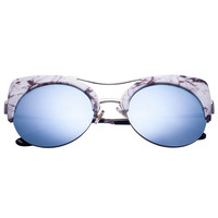 Marble Print Mirror Lens Cat Eye Sunglasses