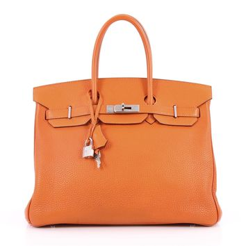 Hermes Birkin Handbag Orange Togo with Palladium Hardware 35