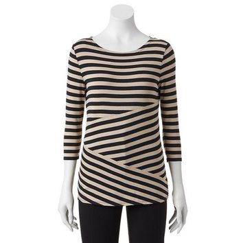 ESB7GX Dana Buchman Striped Pieced Top - Women's Size X