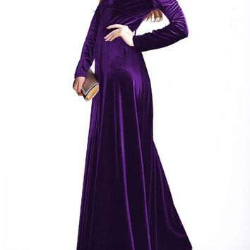 Purple Velvet V-neck Long Sleeve Maxi Dress