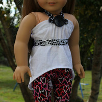 3 piece set!! high low shirt, leggings with heart pattern, ribbon belt 18 inch doll clothes American Girl doll clothes