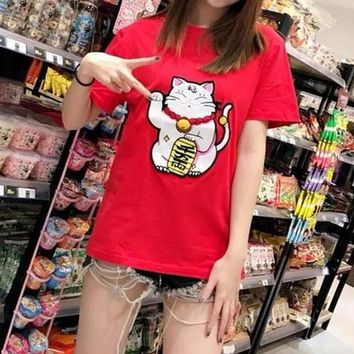 """Gucci"" Women Fashion Cute Lucky Cat Embroidery Short Sleeve Casual T-shirt Top Tee"