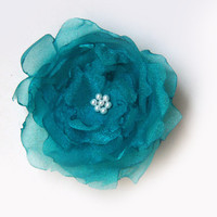 Teal Wedding Bridal Hair Flowe - Bridal Organza Flower with Pearls Hair Clip - Organza Pearl Hair Accessories -  Bridal Headpiece