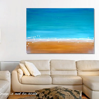 HUGE Original Beach Abstract Painting Modern Contemporary Wall Art - Gold Sand, White Waves, Blue Skies - Large 36 x 24