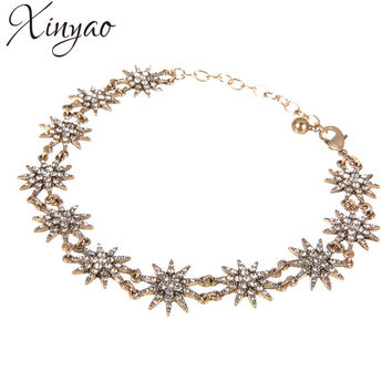 XINYAO 2017 Fashion Crystal Star Choker Necklaces For Women Vintage Gold Chain Chocker Necklace Statement Collares Mujer F10153