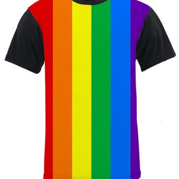 Vertical Gay Pride Rainbow Black Back and Sleeve T-Shirt by NDS Wear