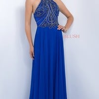 Long Blue High Neck Open Back Intrigue by Blush Prom Dress