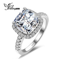 Jewelrypalace Princess 4.2ct Zirconia Engagement Rings Real 925 Sterling Silver Ring With S925 Stamp Classic Wedding Bands Ring