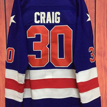 ONETOW Ice Hockey 1980 Miracle On Ice Team USA Jim Craig 30 Hockey Jersey