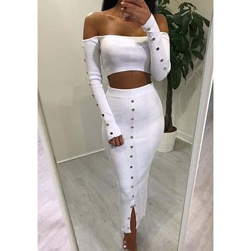White Studded Off Shoulder Crop Cut Out Two Piece Party Clubwear Midi Dress