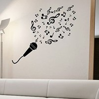 Microphone Music Notes Wall Decal Vinyl Art Home Decor Mic Singing