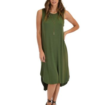 Lyss Loo Mood And Melody Side Slit Olive T-Shirt Dress
