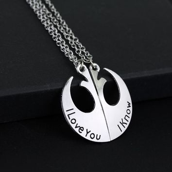 SG Fashion Silver Star Wars Rebel Alliance Logo Pendant Necklace I Love You I Know Couple Necklaces Pendants For Lovers Jewelry