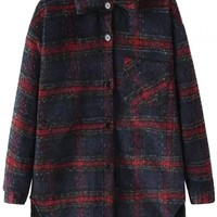 Favorite Plaid Thermal Button Down Shirt - OASAP.com