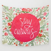 Stay Curious – Pink & Green Wall Tapestry by Cat Coquillette