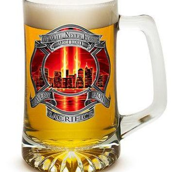 NEVER FORGET- 9-11 TRIBUTE WITH RED SKY- 25 OZ  LARGE TANKARD BEER GLASS