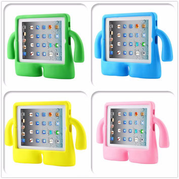 2017 new 3D Thick Foam Shock Proof Soft Handle Stand case for Apple ipad 2 3 4 9.7 inch kids cartoon EVA silicone cover + stylus