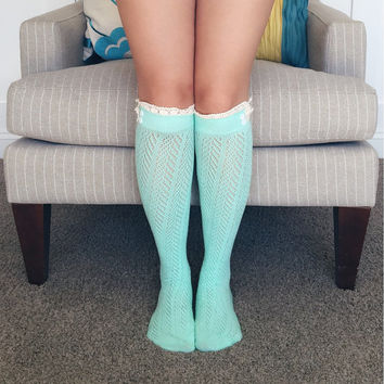 Boot Socks, Knee High Socks, Button Boot Socks, Lace Boot Socks, Boot Toppers, Knit Socks, Boot Leg Warmers, 2 Buttons Boot Socks MINT BLUE