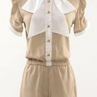 Royal Academy Vintage Collar Romper in Taupe | Sincerely Sweet Boutique