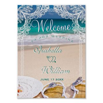 Welcome Sign Turquoise Ocean Beach Summer Wedding