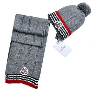 Moncler New fashion two piece stripe scarf Hairball knit cap Light gray