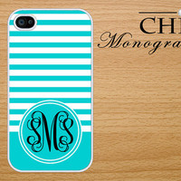 Personalized iPhone 4 case iPhone 4s case iPhone 4 cover iPhone 4s cover iPhone 4s skin Monogram Stripes-Dark Turquoise and White