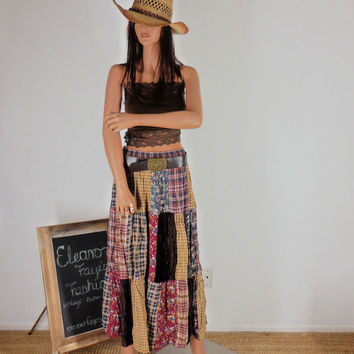 Sze 5 / 10 Patchwork Peasant Broomstick Long Maxi Skirt Boho Hippie Indie Western velvet/cotton/rayon