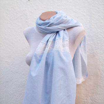 Handmade Traditional Turkish Fabric Scarf-Crochet -blue white -rectangle